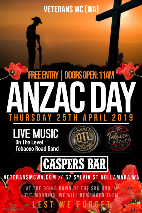Anzac Day 2019 Veterans Mc Australia